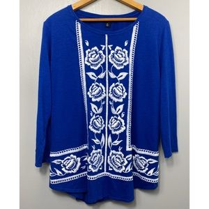 LUCKY BRAND Blue Long Sleeve Embroidered Top